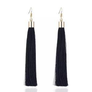 5 for $25 Black Fringe Long Tassel Drop Earrings